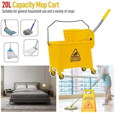 PREMIUM 21Qt Commercial Yellow Mop Bucket Side Press Wringer on Wheels Cleaning