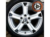 "17"" Genuine Techniks alloys Carbon Fibre/Silver VW Seat premium tyres"