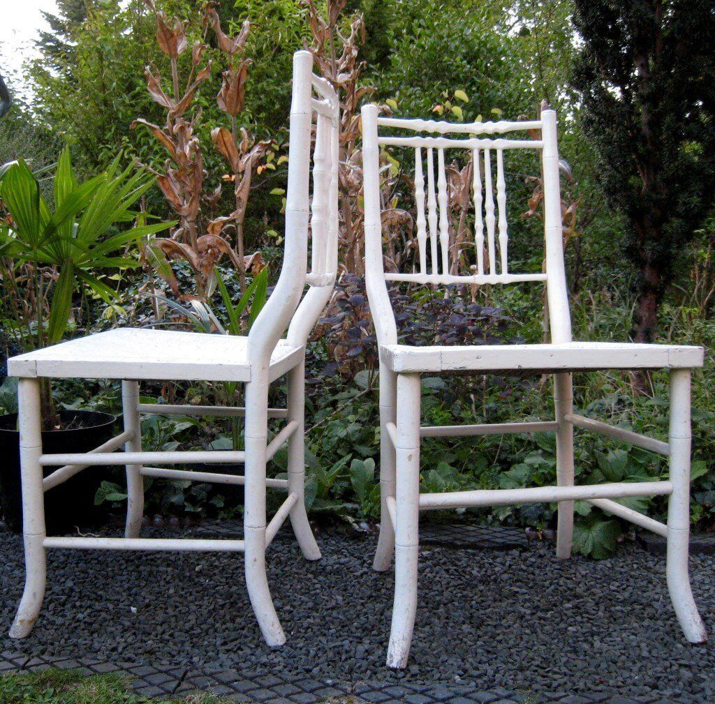 Pair of Vintage Antique c1820 White Wooden Faux Bamboo Rush Seated Bedroom Occasional Side Chairs