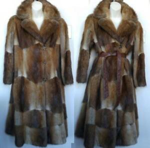REAL FUR COAT 8 10 Petite WOMENS Lovely LONG Muskrat Excellent Vintage Warm Brown Retro Medium M 8P 10P Winter Jacket