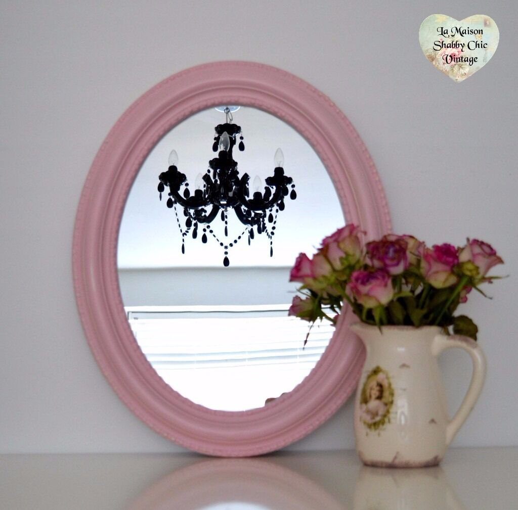 Hand Painted Pastel Pink 2 Way Bobble Oval Mirror Wood Wall Hanging Shabby Chic