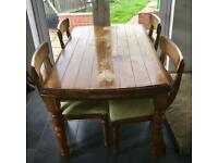 Solid wood dining table, four chairs