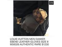 Louis Vuitton Graphite Damier Ebene Gloves 100% genuine
