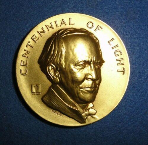 1979 Thomas Edison, Centennial Of Light, Gold Plated Bronze, Mico Kauffman, Sc.