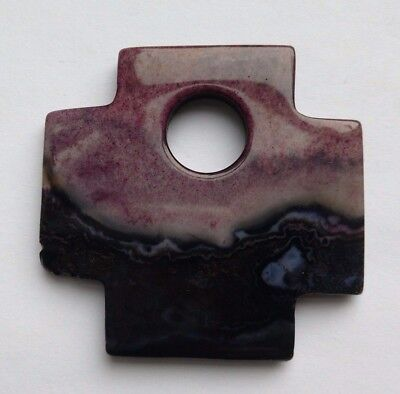 Stone focal Bead, Purple/Lilac Cross, 4.5 cm.  Jewellery Bead/Symbolic/Amulet
