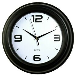 12.5 Round Shape Wall Clock  Silent Non Ticking Quartz Battery Operate, Black