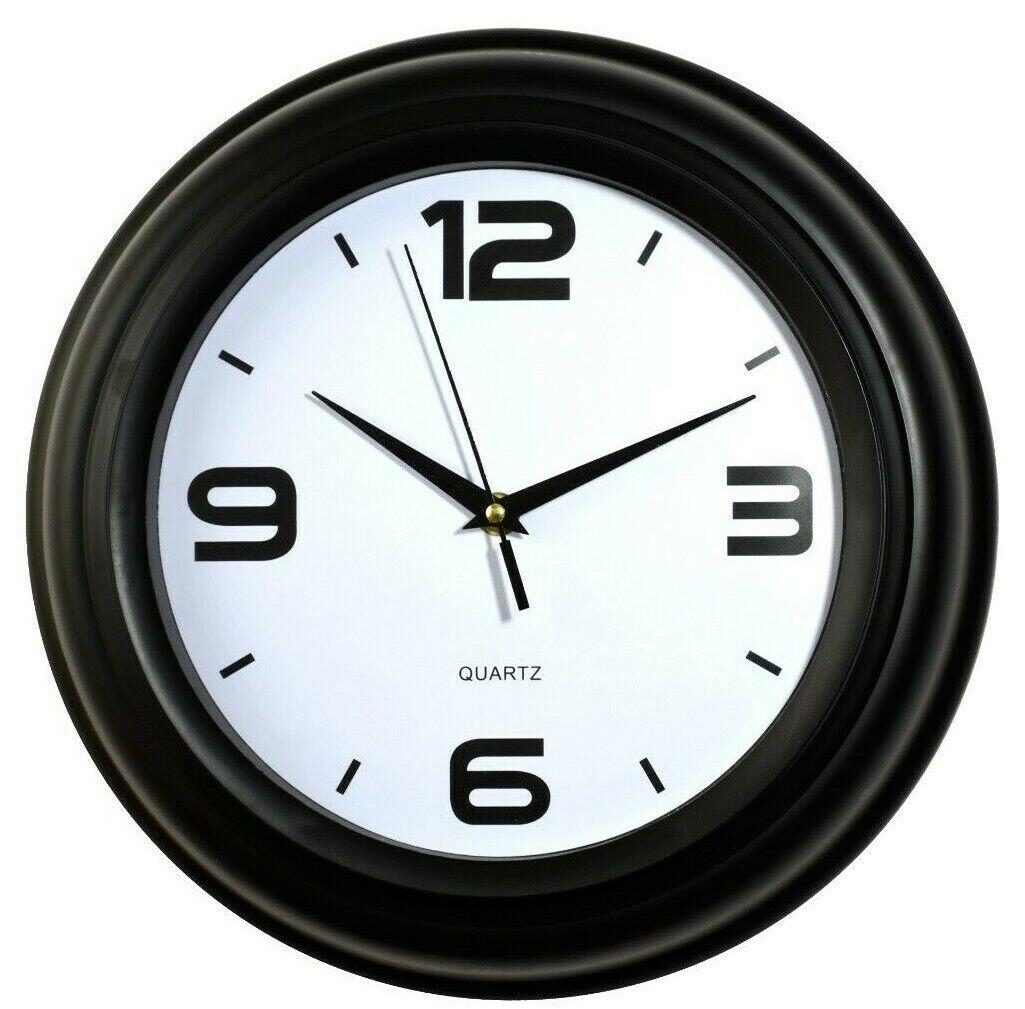 "12.5"" Round Shape Wall Clock  Silent Non Ticking Quartz Batt"