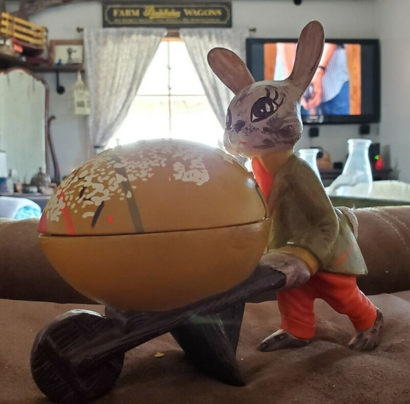 Vintage 1960s Hand Painted Ceramic Easter Bunny Rabbit Pushing Egg Wheelbarrow
