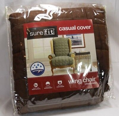 SureFit Soft Suede Waterproof Wing Chair Furniture Cover Chocolate Brown Furniture Covers Soft Suede
