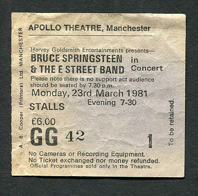 1981 Bruce Springsteen concert ticket stub Apollo Manchester UK The River Tour