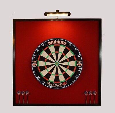 """LED Lighted 32"""" x 32"""" Dart Board Cabinet Backboard & Winmau"""