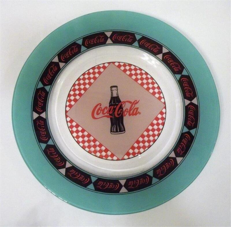 "Coca Cola Coke Clear Glass 8.75"" Salad Luncheon Plate 1999 Arcoroc France New"
