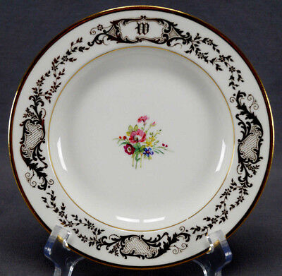 10 Pouyat Guerin Limoges Hand Painted Floral & Gold W Monogram Dessert Plates Hand Painted Dessert