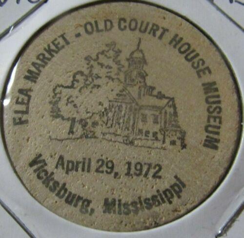 1972 Flea Market Vicksburg, MS Wooden Nickel - Token Mississippi