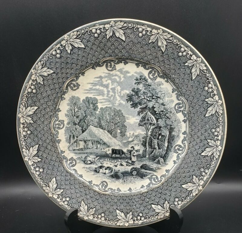 "C.1882 Old Hall ""Farm"" Pattern Transferware 10"" Plate Staffordshire England"