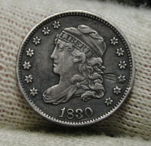 1830 Capped Bust Half Dime H10C 5 Cents - Nice Old Coin, Free Shipping  (8469)
