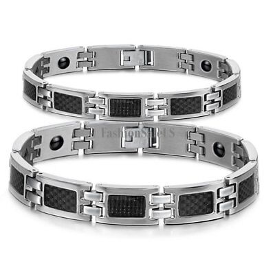 Couples Men Women Stainless Steel Carbon Fiber Magnetic Bracelet Valentine - Carbon Fiber Stainless Magnetic Bracelet