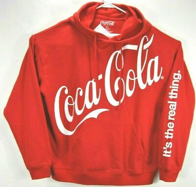 Coca Cola Women XL Hooded Sweatshirt Red Spell Out Logo Long Sleeve Cotton Blend