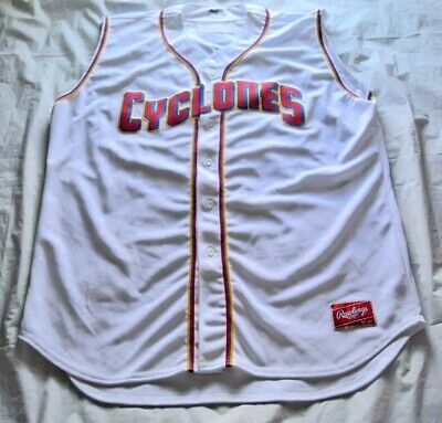 Authentic Brooklyn Cyclones Sleeveless Button Down Rawlings Jersey - Size 52 Button Down Sleeveless Jersey