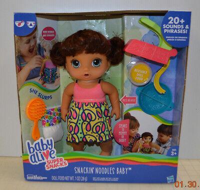 Baby Alive Super Snacks Snackin' Noodles Baby Brunette Girl Doll w/ food Diaper