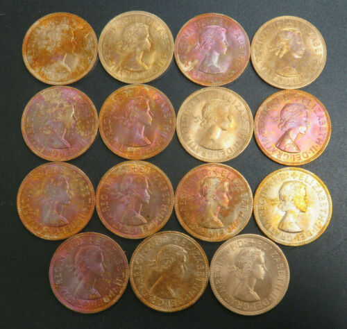 1965 Great Britain One Penny Lot of 15 AU/UNC Coin All Toned