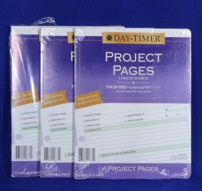 Day-timer Project Pages 90871 Size 8.5 X 11 Total Of 6 Pads 24 Sheets Each 144