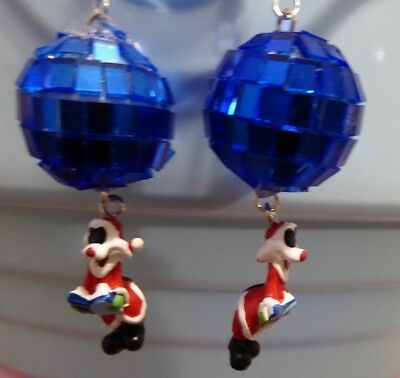 Disco Ball 70's 80's Blue GLASS Silvester 925 EARRINGS Handcrafted USA Nora's](80s Disco Ball)