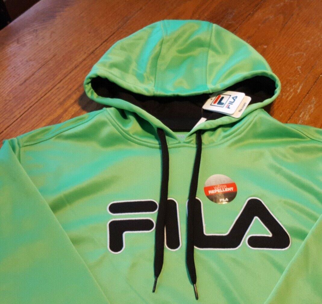 NWT New Men's Lime Green FILA Water Repellent Hoodie Sweatsh