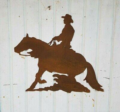 SlidingStop XL QuarterHorse Westernreiter Wandbild Gartendeko Edelrost gebraucht kaufen  Mechernich