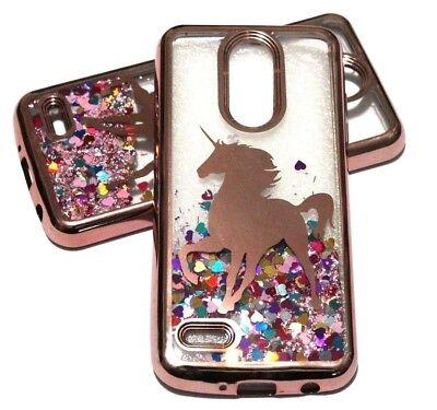 (For LG Fortune 2 / Risio 3 - Rose Gold Unicorn Hearts Glitter Liquid Skin Case)