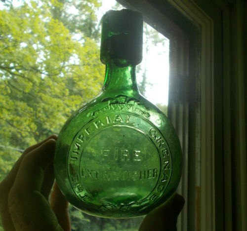 THE IMPERIAL GRNADE FIRE EXTINGUISHER RARE GREEN 1880s HAND BLOWN BOTTLE
