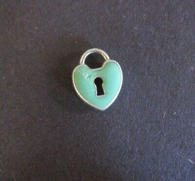 Tiffany & Co Sterling Silver Heart Lock Blue Enamel Pendant (Tiffany And Co Blue)