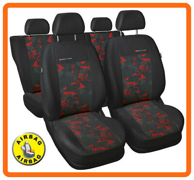 Car seat covers fit Mitsubishi Lancer full set - charcoal grey/red verlour