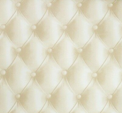3D Beige Headboard Wallpaper Art House Deco Cushioned Faux Leather Modern Cream