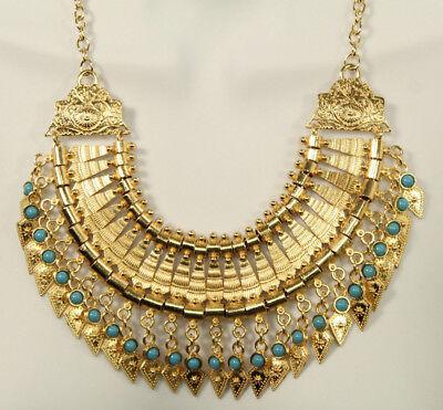 Bold Spike Gold Statement Necklace Turquoise Gypsy Boho Chic Tribal Bib Choker Bold Turquoise Necklace