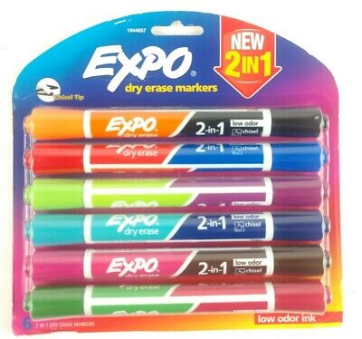 Expo 2-in-1 Dry Erase Markers 12 Colors Durable 3-way Chisel Tip Low Odor