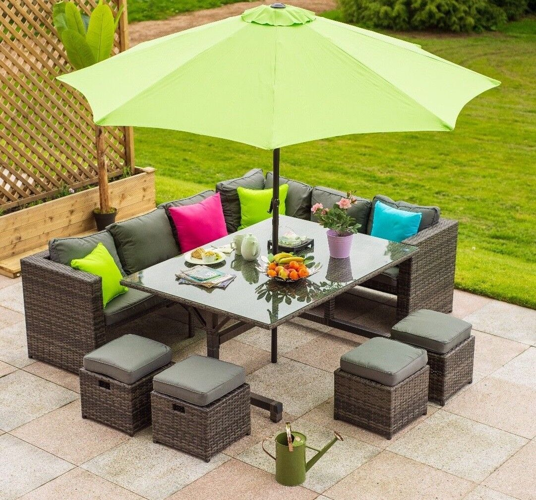 Garden Furniture - Rattan 10 seater Garden Corner Sofa Cube Dining furniture Set with Stool Parasol