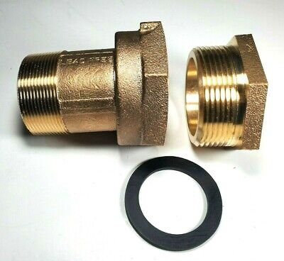 2 Water Meter Coupling Lead-free Brass With Bushing For Fem Thread Meter