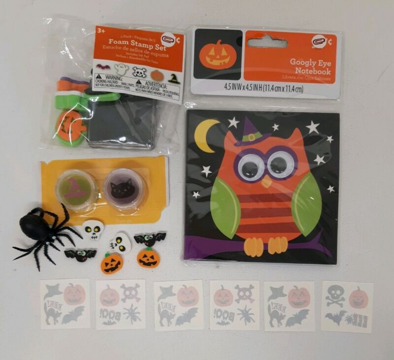 Halloween Mixed Toy Spider Ring Tattoo Eraser Stamp Googly Eye Notebook Lot Bat