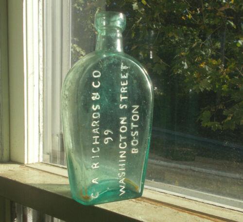 C.A.RICHARDS & CO BOSTON 1870s AQUA COFFIN FLASK LYNDEBOROUGH GLASS APPLIED LIP