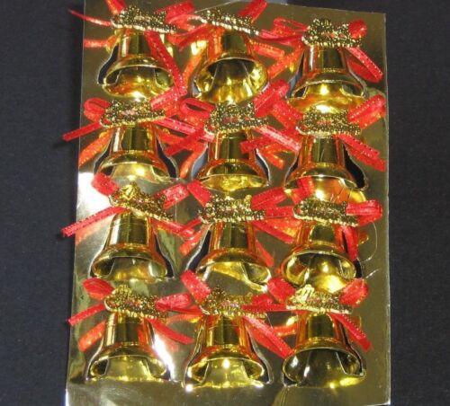 """Merry Christmas"" Bells Gold Ornaments Miniature Approx 1"" w/ Twist Tie, Plastic"