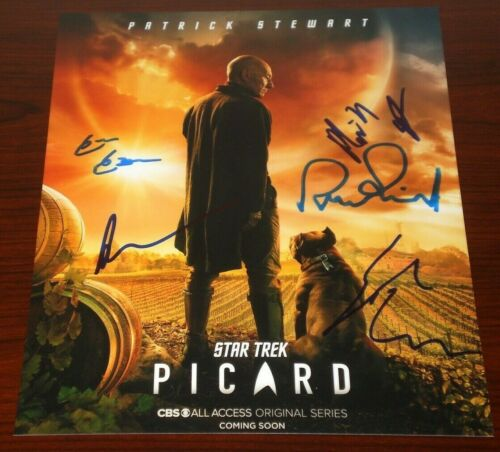 CAST SIGNED STAR TREK PICARD POSTER 8X10 PHOTO BY 5 AUTO COA STEWART CABRERA ++