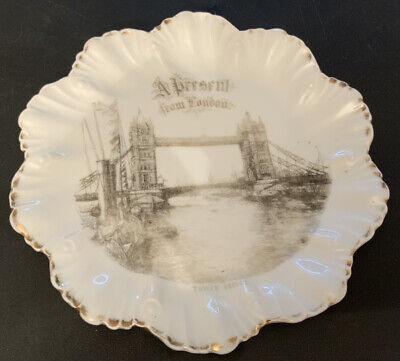 Antique A Present From London Tower Bridge White Souvenir Ware Plate