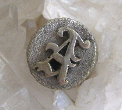 Victorian Signet Ring Gothic Initial Letter A Antique Silver Mens Band