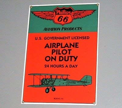Enamel Sign - PHILLIPS 66 AVIATION PRODUCTS - Plane Vintage Boeing Pilot USA vgc
