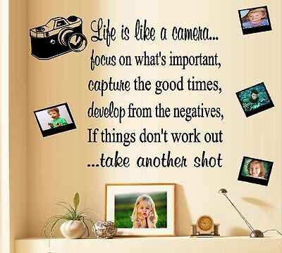 Life is like a Camera  ~ Wall Decal (2 sheets) 1-wording, 2-frames and