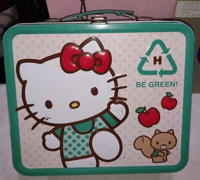 """Hello Kitty Full Size Metal Lunchbox """" BE GREEN """" 2010 Sanrio Co. *FREE SHIPPING"""