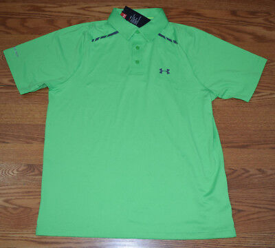 NWT Mens UNDER ARMOUR COLDBLACK Bright Green Golf Loose Fit Polo Shirt L Large