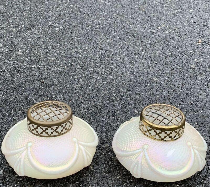Spectacular Pair Of Antique French Iridescent Opaline Glass Potpourri Jars
