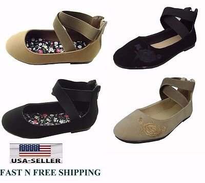 New kid's Girl's Mary Jane Casual Ankle Strap Zipper Dress Ballet Flats Shoes](Girl Flats Shoes)